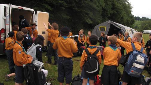 Arrivée au camp Groupe Pierre François